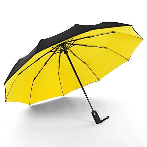 WUHUAROU Paraguas automático a Prueba de Viento de Doble Capa de 10K, Tres Paraguas Plegables, Parasol Grande y Duradero para Lluvia, Sol (Color : Yellow)