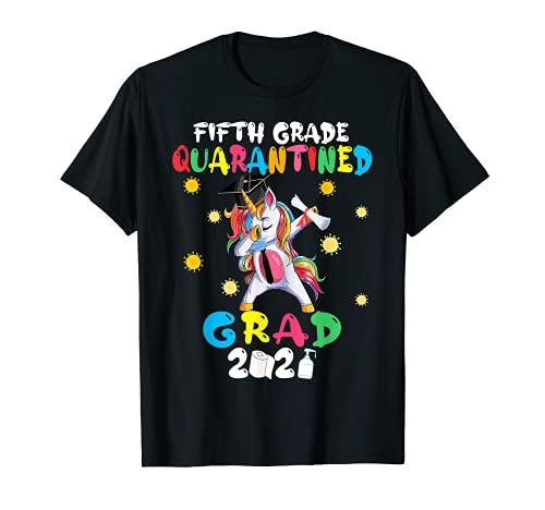 Quinto grado de grado Dabbing Unicorn Graduate Cuarentena Camiseta