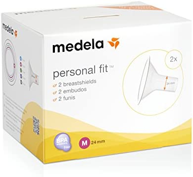 Medela PersonalFit 2 Breast Shields, Nipple Covers for Breast Pumps, 2 Shields, Medium (24 mm)