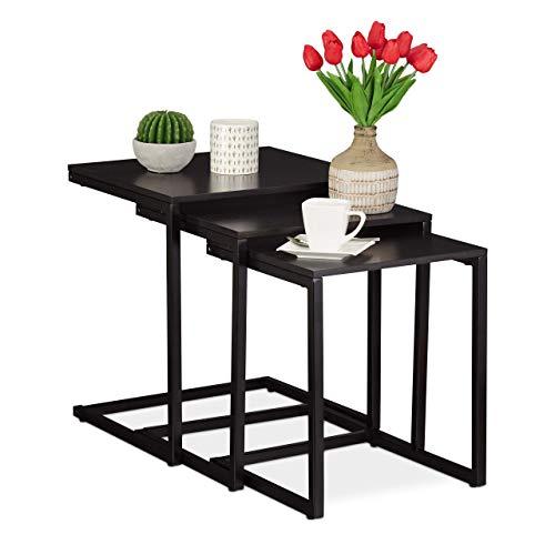Relaxdays 3 Satztische schwarz, modernes Design, eckige Seitentische in C-Form, für Couch & Bett, platzsparend, black