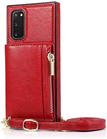 Case for Samsung Galaxy S20 Plus, Zipper Wallet Case with Credit Card Holder/Crossbody Long Lanyard, Shockproof Leather TPU Case Cover for Samsung Galaxy S20 Plus (Color : Red)