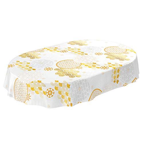 ANRO tovaglia cerata lavabile, tovaglia cerata, tovaglia in tela cerata, astratta, bianco oro, Schnittkante, Oval 140 x 220cm