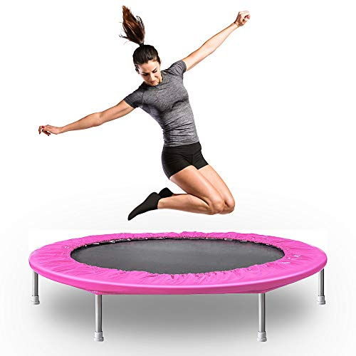 Hooseng Mini Fitness Trampoline for Adults and Kids, Foldable Exercise Trampoline, Rebounder Trampoline, with Padding & Springs Elastic Safe for Indoor Outdoor Exercise Workout