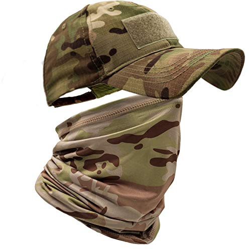 HOPSOOKEN Camo Hats for Men with Cooling Sun UV Neck Gaiter Military Tactical Hunting Hat for Running Hiking Baseball Cap(Camo)