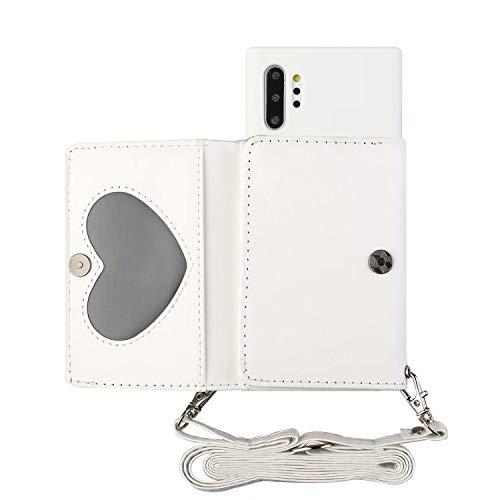 TYWZ Crossbody funda para Samsung Galaxy Note 10 Plus, correa para el hombro, collar, cartera de piel sintética, cadena con tarjetero, funda de silicona con cordón para colgar, color blanco