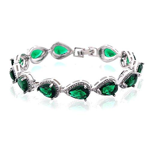 GULICX-larme, braccialetto da donna, catena, argento, con Swarovski, stile alla moda, 18,5cm, placcato oro bianco, bijoux romantico, rame, colore: verde, cod. L174d