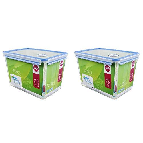 Emsa 508549 Clip & Close Frischhaltedose mit Deckel, 10.8 Liter, rechteckig (2 Stück)