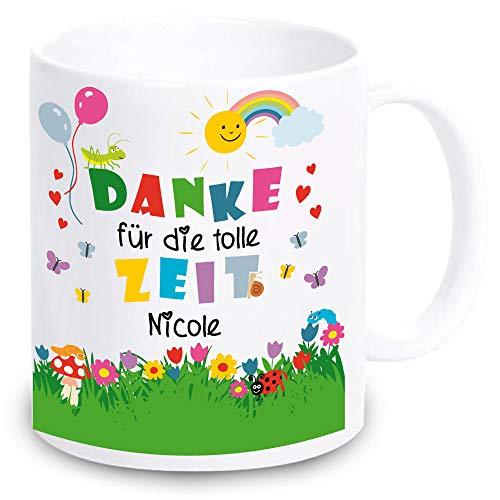 weiße TASSE -DANKE für die tolle Zeit- PERSONALISIERT Geschenkidee für Erzieherin Lehrerin Geschenk mit Spruch zum Abschied Kindergarten (mit Namen)