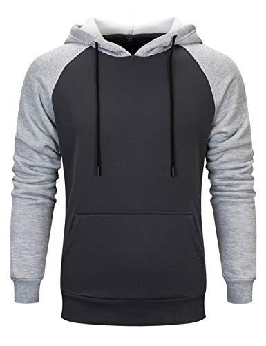Men Casual Solid Shirt Hoodies Sweater Long Sleeve Cap Tops, Dark Gray-L