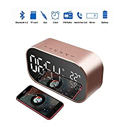 Enjoy Best Time Digital Radio Alarm Clock,Wirless Bluetooth Speaker Clock USB Charging AUX TF Card Play for Desktop(Rose Gold)