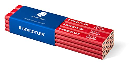 STAEDTLER 148 40 Zimmermann-Bleistift, (oval-achtkant, Härtegrad medium, für Strichbreiten von 1 – 2 mm, ungespitzt, 175 mm lang, hohe Qualität), 12 Stück