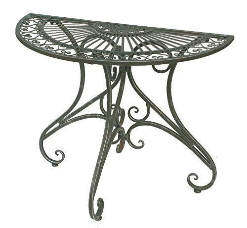 GXK Tisch Wandtisch Beistelltisch Metall 90 cm Halbrund Konsole Garten Balkon