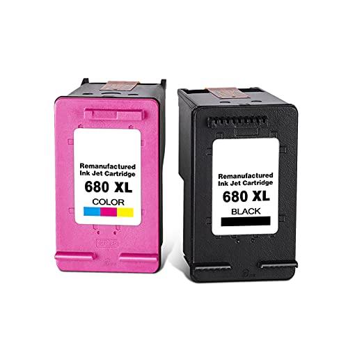 AXAX Tóner compatible con HP 680, cartuchos de tóner de repuesto para HP Deskjet 1115, 1118, 2135, 2138, 4538, 4678 y 2600, cartuchos de tinta permanentes