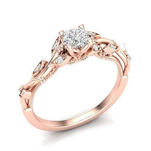 Amazon Com 14k Rose Gold Floral Engagement Ring Diamond Milgrain Tree Leaf Ring Handmade
