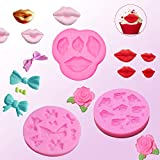 3 Pack Silicone Fondant Molds, Non-stick Mini Candy Chocolate Molds for Clay Valentine's Day Wedding Birthday Party Cake Cupcake Topper Decoration– 3D Lips/ Bows/ Rose with Leaves(Pink)