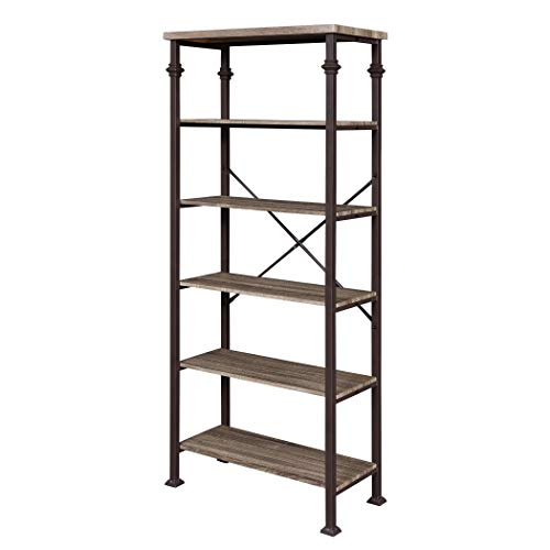 Familymill Vintage Industrial 6-Tier Tall Bookshelf with Metal Bookcase Display Rack for Home and Office