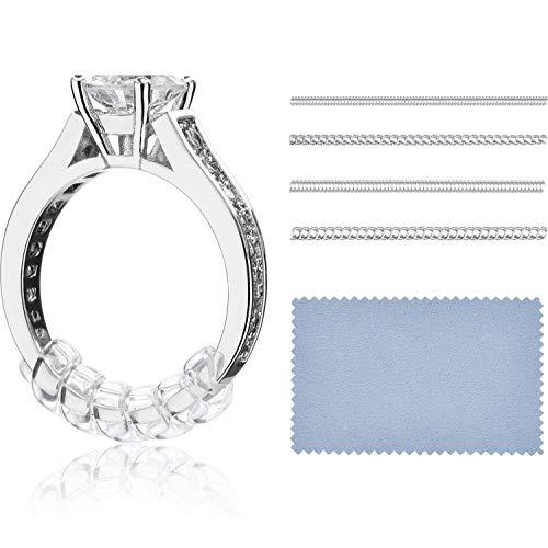 Maquillali 8 Ajustadores de tamaño del anillo en 4 tallas y 1 paño de pulido, para anillos suelto (No incluye el anillo)