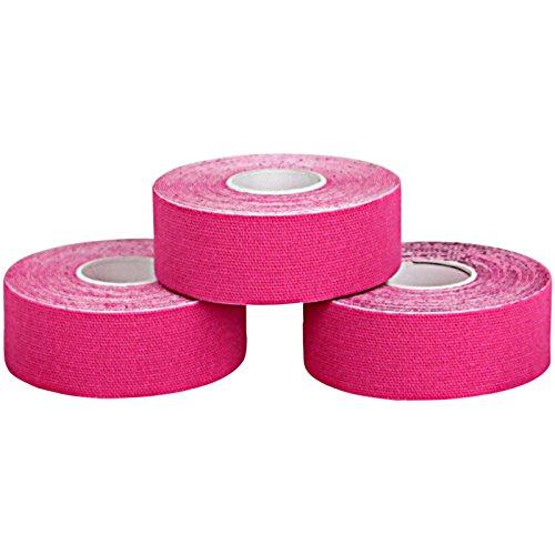 ALPIDEX 3 Rollen Kinesiologie Tape 5 m x 2,5 cm in 5 Farben, Farbe:pink