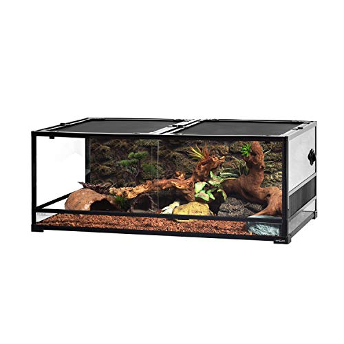 "REPTI ZOO Reptile Glass Terrarium, Double Hinge Door with Screen Ventilation Reptile Terrarium 48"" x 24"" x 18""(Knock-Down)"
