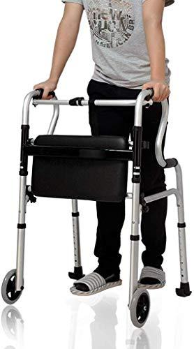 Ouderen walker Lichtgewicht aluminium rollator, opvouwbare pas leren lopen met Seat Folding Rollator Rollator met toilet Leuning, de meest geschikte revalidatie walker