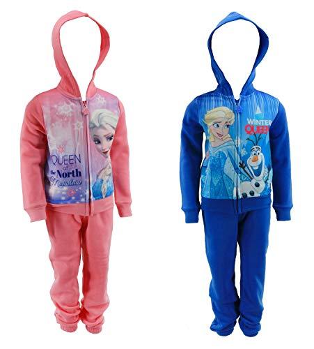Frozen - Die Eiskönigin Jogging-Anzug Sweat-Jacke mit Jogging-Hose Trainings-Anzug ELSA, Farbe:Pink, Größe:110 (5 A)