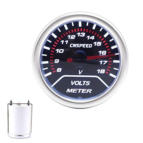 JKCKHA 52mm Lente de Humo Volt Gauge 8~18V Panel de Control de un LED Azul Universal del Coche de competición Auto del Metro del voltímetro Calibre for el Coche del Carro del Barco Tablero