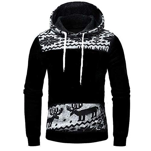 SHYY Herren Hoodie Sweatshirt Pullover Fleece-gefüttert Weihnachtspulli Rentier Snowflake modern mit Kapuzen Kordelzug Christmas Sweaters Pulli Casual Mode Dickes Warme Herbst Winter neu Tops 4XL