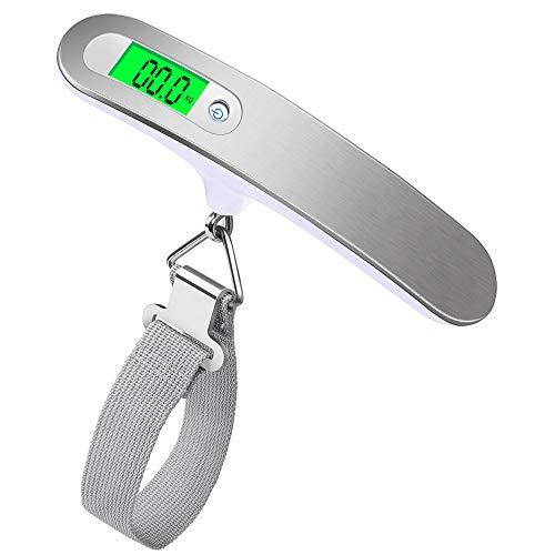 opamoo Bilancia digitale portatile da valigia con display LCD retroilluminato e indicatore di temperatura per viaggi famiglie, capacità 50 kg, colore argento