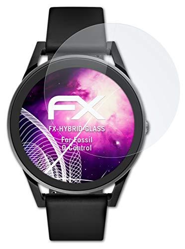 atFoliX Glasfolie kompatibel mit Fossil Q Control Panzerfolie, 9H Hybrid-Glass FX Schutzpanzer Folie