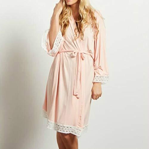 Ycxydr Schlafanzug Solid Color Umstandskleid Lace Stitching DREI-Punkt-Ärmel mit Cardigan Stillen Robes Pyjamas, Größe: 3XL (Bademantel (Color : Pink)
