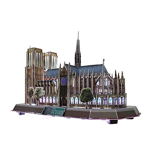 Puzzle 3D Iluminación LED Notre Dame de Paris Arquitectura Modelo