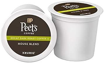 Peet's Coffee Decaf House Blend, Dark Roast, 60 Count Single Serve K-Cup Decaffeinated Coffee Pods for Keurig Coffee Maker