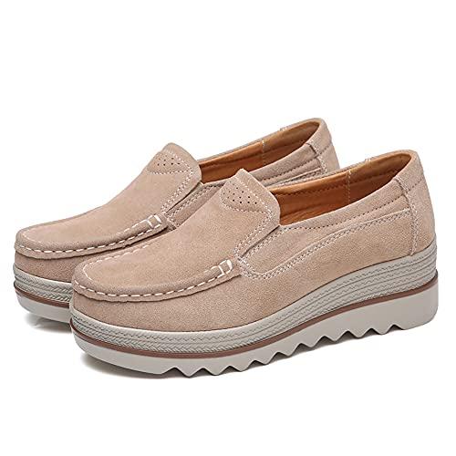 Yigenten Damen Plateau Slip On Loafer Komfort Wildleder Mokassins Wide Low Top Keilschuhe Weite Wildleder Mokassins Loafer Fashion Casual Wedge Sneakers (Apricot,42)
