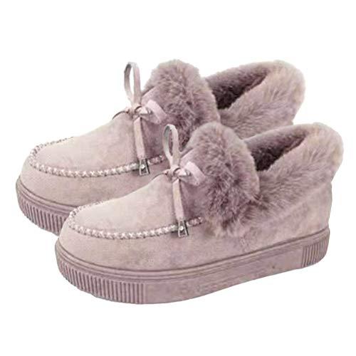 Botas planas de moda casual para mujer, zapatos de invierno cálidos de ante planos, botas de nieve, mocasines, zapatos de plataforma, color Gris, talla 41 EU