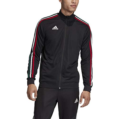 adidas Men's Soccer Tiro Track Jacket Black/Power Red/White/Collegiate Green Medium