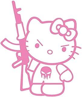 Hello Kitty AK-47 Punisher Machine Gun Vinyl Decal Sticker (HK-17) (Pink, 5 inches x 4.2 inches)