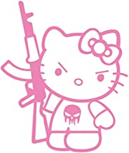 Hello Kitty AK-47 Punisher Machine Gun Vinyl Decal Sticker (HK-17) (Pink, 5 inches x 4.2 inches)