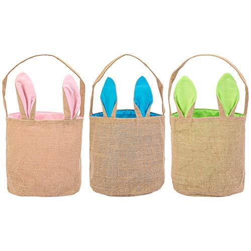 LinTimes Cestas de Conejito de Huevo de Pascua, Diseño de Orejas de Conejo, Bolsas de Caza de Arpillera de Yute Para Niños, Caza de Huevos, Huevos de Pascua, Regalos de Fiesta, Paquete de 3