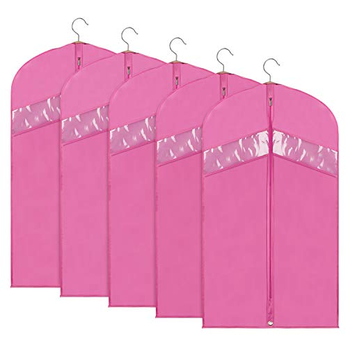 Univivi Garment Bag Foldable Dance Garment Bags for Storage and Travel 43inch, Anti-Moth Protector with Clear Window, (5 Pack) Suitable for Dance Dress, Skirt,Suits, Coats, Sweater,(Pink)
