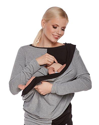 be! Mama 2in1 Stillschal WRAP SOUL aus Baumwolle mit kl. Tasche für Stilleinlage, Stilltuch für diskretes Stillen, Halstuch, Wendeschal - grau - schwarz