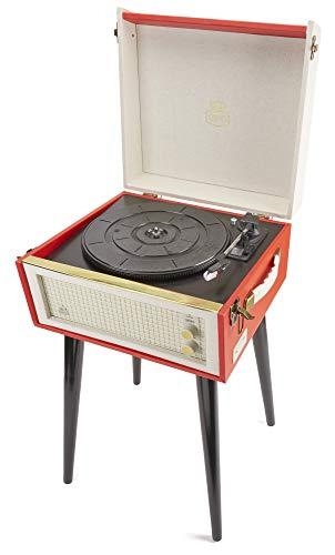 Oferta de GPO Bermuda Reproductor de vinilos clásico con estilo retro - Tocadiscos de vinilo con MP3, USB, altavoz incorporado - Rojo