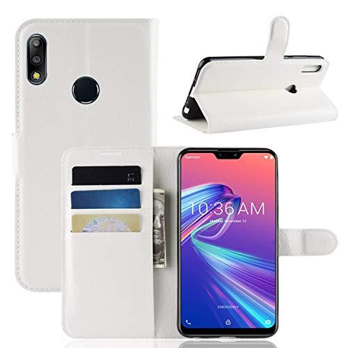 pinlu® PU Leder Tasche Handyhülle Für Asus Zenfone Max Pro (M2) ZB631KL Smartphone Wallet Hülle Mit Standfunktion & Kartenfach Design Hochwertige Ledertextur Weiß