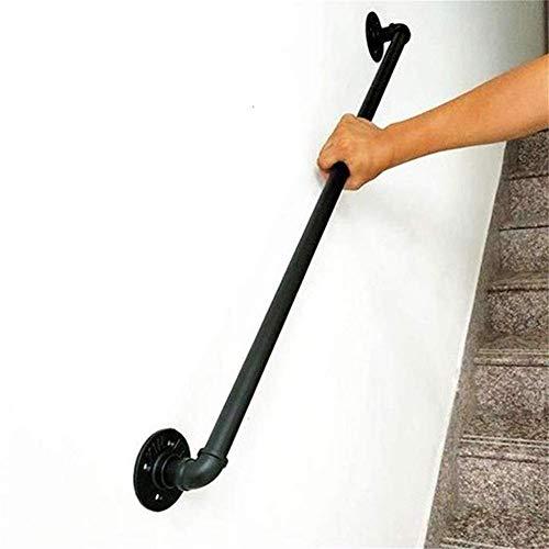 Tama/ño Personalizable Home Barandilla Escalera para Interiores Y Exteriores Pasamanos Escalera De Hierro Negro Moderno Apoyabrazos De Tubo De Seguridad Antideslizante