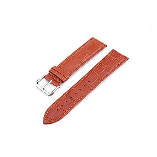 HUIJUNWENTI Reloj Band Correas de Cuero Genuino 12-24mm Watch Accesorios Cintas Marrones de Relojes (Color : Light Brown, Talla : 16mm)
