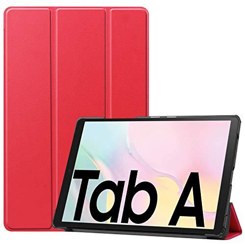 NUPO Hülle für Samsung Galaxy Tab A7 10.4 2020, Ultra Slim Cover Schutzhülle PU Lederhülle mit Standfunktion, Sleep Wake Up Funktion für Galaxy Tab A7 SM-T500/T505/T507 10.4 Zoll 2020, Rot