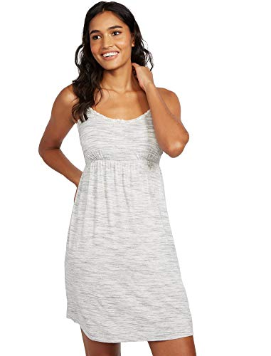 Motherhood Maternity Women's Maternity Lace Trim Nursing Nightgown, Grey Space dye, Medium