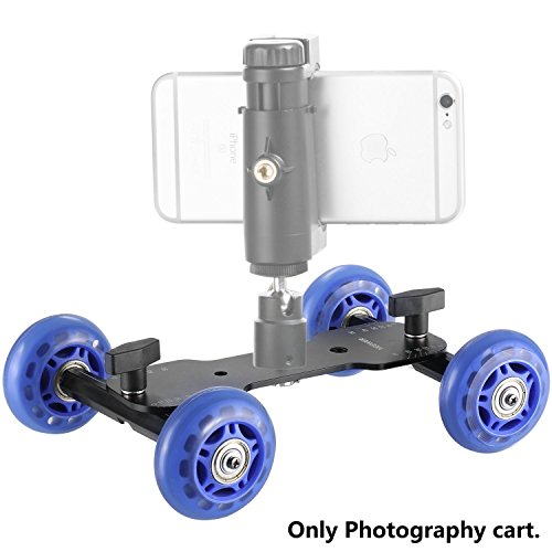 Neewer Mobile Rolling Slider Dolly Car Skater Video Track Rail Stabilizer with 1/4 and 3/8 inch Thread 66 pounds/30 kilograms Load Capacity for Speedlite DSLR Cameras Video Camcorders(Blue)