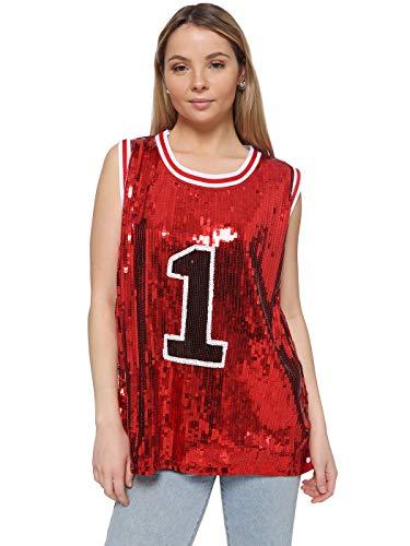 Anna-Kaci Sparkle Glitter Sequins Hip Hop Jazz Dancing Number 01 T-Shirt Top Blouse Tunic, Red, Medium