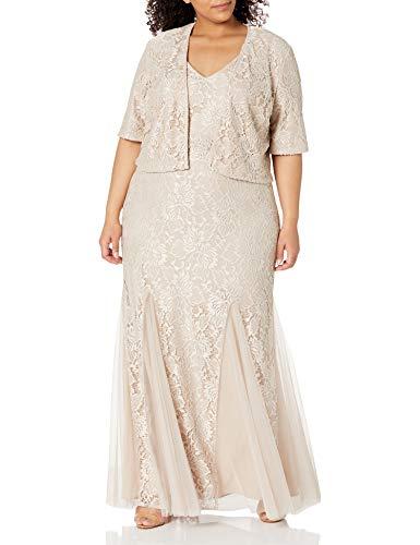 Alex Evenings Women's Plus Size Long Lace Jacket Dress, Porcelain, 24W (Apparel)