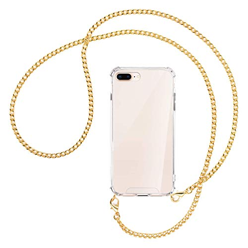 mtb more energy Collana Smartphone per Apple iPhone 7 Plus - 8 Plus - 7+ - 8+ (5.5'') - Catena di Metallo (Oro) - Funda protectora ponible - Carcasa Anti Shock